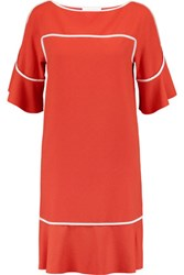 See By Chloe Silk Trimmed Crepe Dress Bright Orange