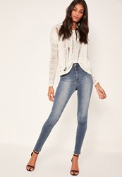 Missguided Blue High Waisted Skinny Jeans