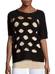 Zero Degrees Celsius Ribbed Knit Boatneck Cutout Sweater Black
