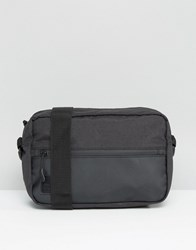 Asos Flight Bag In Rubberised Texture With Contrast Trims Black