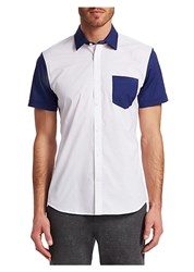 Saks Fifth Avenue Modern Colorblock Woven Button Down Shirt Navy And White