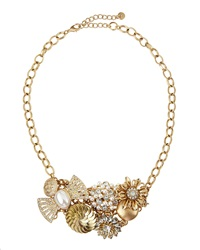 Lydell Nyc Pearly Crystal Cluster Statement Necklace