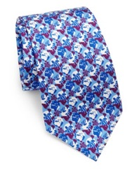 Vilebrequin Turtle Print Silk Tie Purple Blue