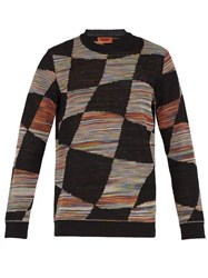 Missoni Checked Space Dyed Knitted Sweater Black Multi