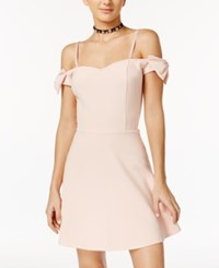 Material Girl Bow Trim Off The Shoulder Fit And Flare Dress Only At Macy's Pale Blush