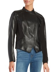 T Tahari Oriana Faux Leather Motorcycle Jacket Black