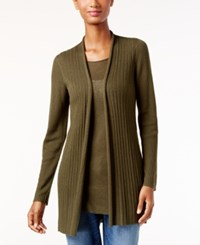 Eileen Fisher Slim Fit Open Front Cardigan Caper