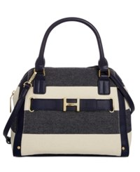 Tommy Hilfiger H Belted Canvas Satchel Navy Natural
