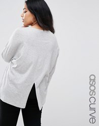 Asos Curve Oversized Top With Split Back Grey