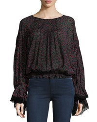 Chloe Cherry Print Pintuck Blouse With Bell Sleeves Crimson And