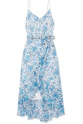 Alice Olivia Tevi Ruffled Printed Georgette Midi Dress Blue