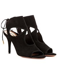 Aquazzura Sexy Thing 85 Suede Sandals Black