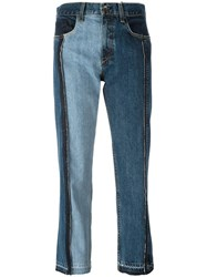 Rag And Bone Jean Patchwork Cropped Jeans Blue