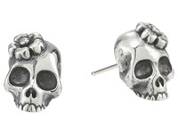 King Baby Studio Sakura Skull Stud Earrings Silver
