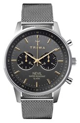 Triwa Nevil Chronograph Mesh Strap Watch 42Mm Silver Grey Silver