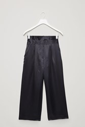 Cos Silk Trousers With Frill Waist Blue