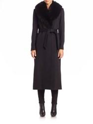 Sofia Cashmere Wool And Cashmere Fur Trimmed Long Wrap Coat Black