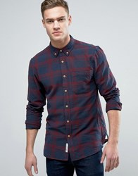 Pull And Bear Pullandbear Regular Fit Checked Shirt In Red Blue Red Blue