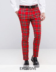 Religion Skinny Suit Trouser In Tartan With Zip Detail Red