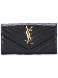 Saint Laurent Grain De Poudre Monogram Flap Wallet Calf Leather Black