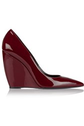 Nicholas Kirkwood Lizy Patent Leather Wedge Pumps Burgundy