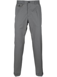 Dolce And Gabbana Embroidered Crown Detail Chinos Grey