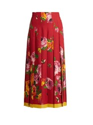 Gucci Rose Print Wool And Silk Blend Pleated Skirt Red Multi