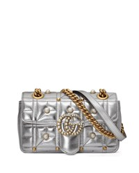 Gucci Pearly Stud Gg Shoulder Bag Silver