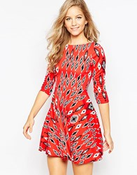 Closet Skater Dress In Aztec Print Red