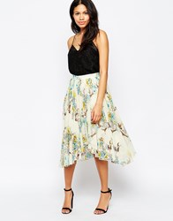 Mela Loves London Bird Print Skirt With Asymmetric Hem Cream