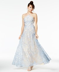 Speechless Juniors' Embroidered Halter Gown A Macy's Exclusive Style Nude Blue