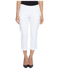 Jag Jeans Petite Marion Pull On Crop In Bay Twill White Women's Casual Pants