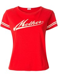 Mother Contrast Logo T Shirt Red