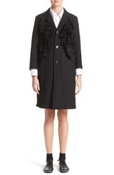Comme Des Garcons Women's Tricot Embroidered Nylon Ruffle Coat