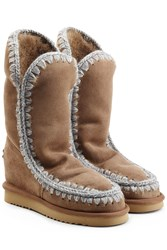 Mou Eskimo Wedge Tall Sheepskin Boots Brown