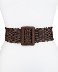 Lafayette 148 New York Basketweave Leather Belt Espresso Brown Women's