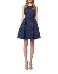 Erin Fetherston Floral Embroidered Fit And Flare Dress Navy