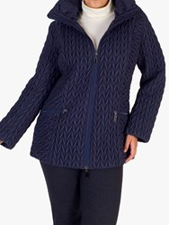 Chesca Cable Embroidered Quilted Coat Blue