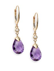 Saks Fifth Avenue Diamond Purple Amethyst And 14K Yellow Gold Teardrop Earrings