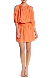 Nicole Miller Smocked Silk Shirt Dress Orange