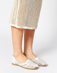 New Look Lolita Weave Gladiator Leather Flat Shoes White