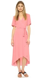 Wayf Warp Midi Dress Salmon