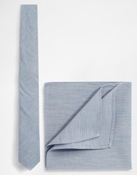 Asos Tie And Pocket Square Pack In Texture Blue Save 21 Blue