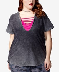 Mblm By Tess Holliday Trendy Plus Size 2 Pc. Layered Strappy T Shirt Black Hot Pink