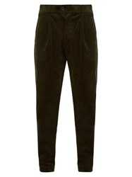 Oliver Spencer Pleated Cotton Blend Corduroy Trousers Green