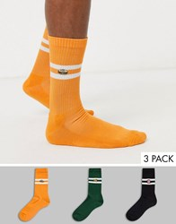 New Look Food Embroidered Stripe Tube Sock 3 Pack In Multi