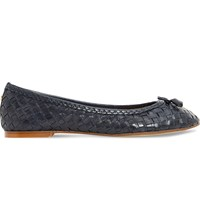 Dune Hove Leather Ballet Flats Navy Leather