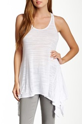 Go Couture Handkerchief Racerback Burnout Tank White