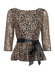 Eliza J Long Sleeve Metallic Lace Top With Tie Belt Black Gold