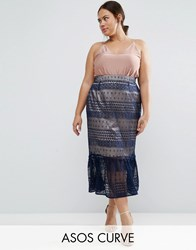 Asos Curve Lace Pencil Skirt With Pep Hem Navy Nude